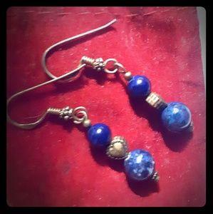 Earrings x2 light blue and dark blue dangle